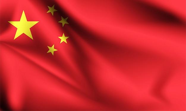 Bandeira da china ao vento. parte de uma série. bandeira de ondulação de china.