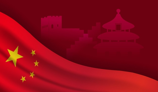Bandeira da china em fundo vermelho com desenho vetorial de pontos de referência