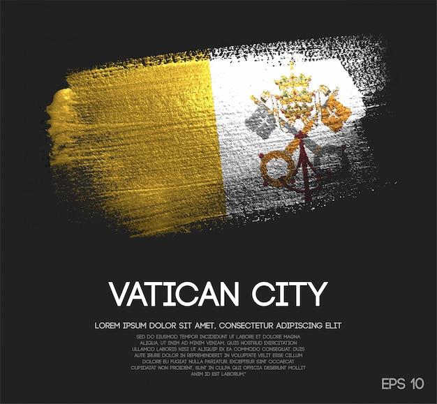 Bandeira da cidade do vaticano, feita de glitter sparkle brush paint