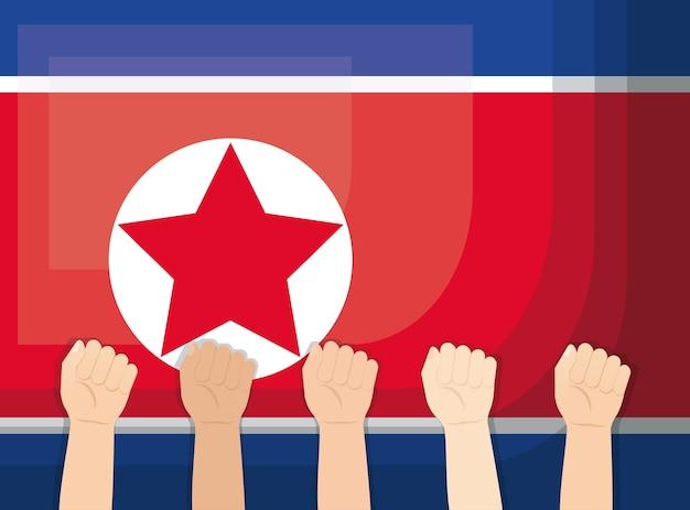 Bandeira da coreia do norte e mãos para cima