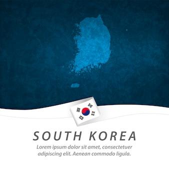Bandeira da coreia do sul com mapa central