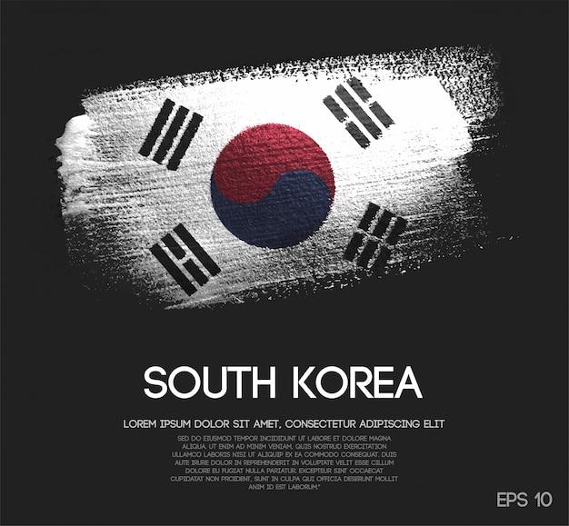 Bandeira da coreia do sul feita de glitter sparkle brush paint
