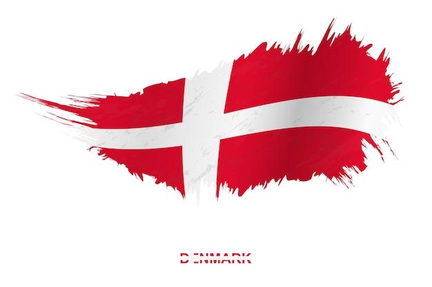 Bandeira da dinamarca em estilo grunge com efeito de ondulação, bandeira de pincelada de vetor grunge.