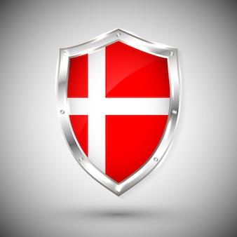 Bandeira da dinamarca no escudo brilhante de metal. coleção de sinalizadores no escudo contra fundo branco. objeto isolado abstrato.