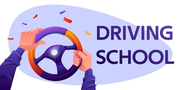 Bandeira da escola de condução com as mãos do motorista no volante do carro e confetes caindo