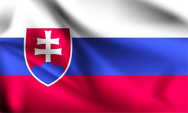 Bandeira da eslováquia ao vento. parte de uma série. bandeira da eslováquia.