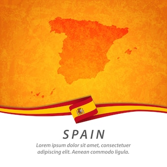 Bandeira da espanha com mapa central