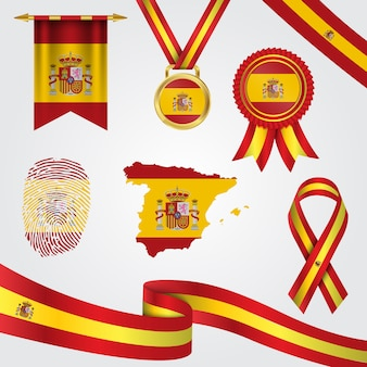 Bandeira da espanha em diferentes formas com mapa e flâmula e medalha e fita e impressão digital