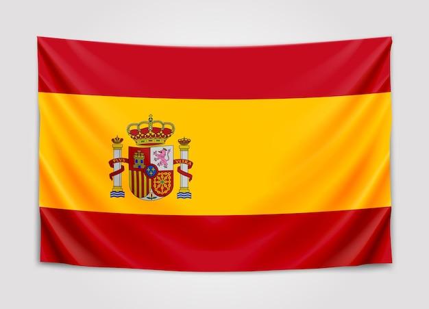 Bandeira da espanha pendurada. reino da espanha. bandeira nacional.