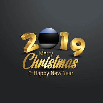 Bandeira da estónia 2019 merry christmas tipografia