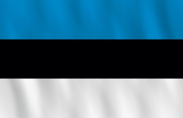 Bandeira da estônia com efeito de ondulação, proporção oficial.