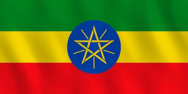 Bandeira da etiópia com efeito ondulante, proporção oficial.