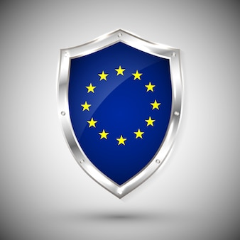 Bandeira da europa no escudo brilhante de metal. coleção de sinalizadores no escudo contra fundo branco. objeto isolado abstrato.