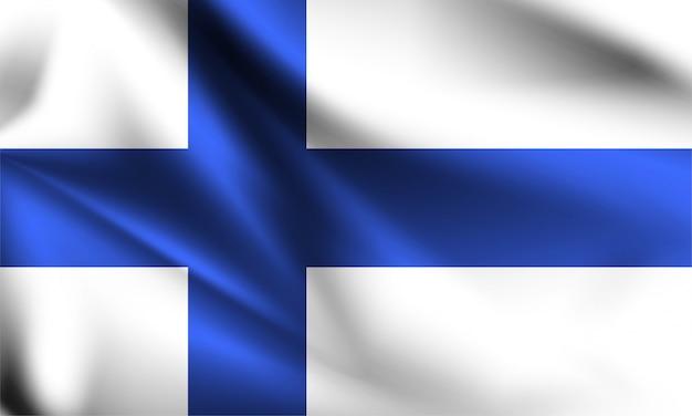 Bandeira da finlândia ao vento. parte de uma série. bandeira da finlândia.
