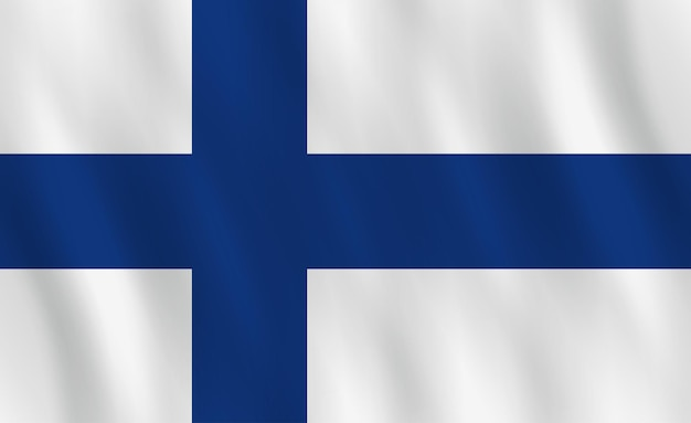 Bandeira da finlândia com efeito de ondulação, proporção oficial.