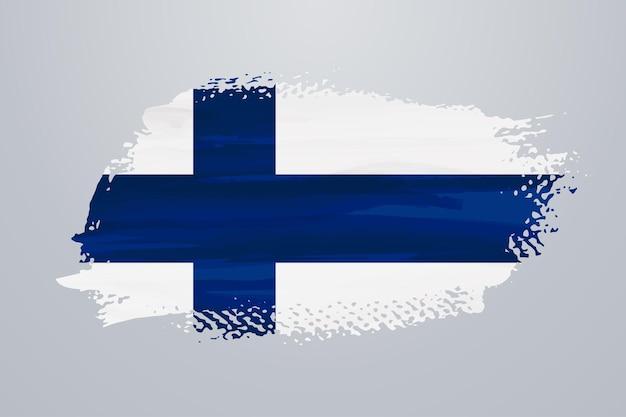 Bandeira da finlândia com pincel