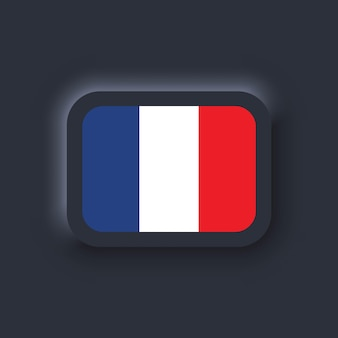 Bandeira da frança. bandeira nacional da frança. símbolo francês. vetor. ícones simples com bandeiras. interface de usuário escura ux neumorphic ui. neumorfismo