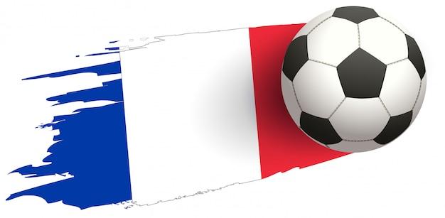 Bandeira da frança e bola de futebol do símbolo de futebol