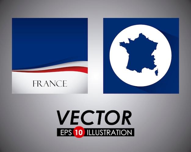 Bandeira da frança e design de mapa