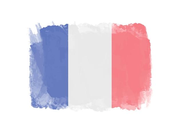 Bandeira da frança em aquarela de grunge