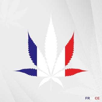 Bandeira da frança em forma de folha de maconha. o conceito de legalização da cannabis na frança.