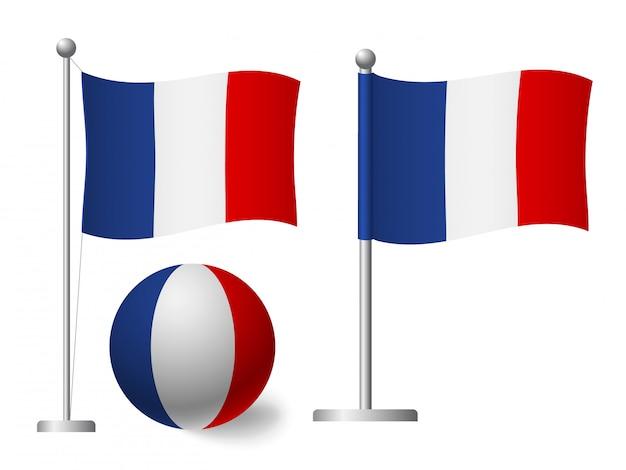 Bandeira da frança no ícone de vara e bola