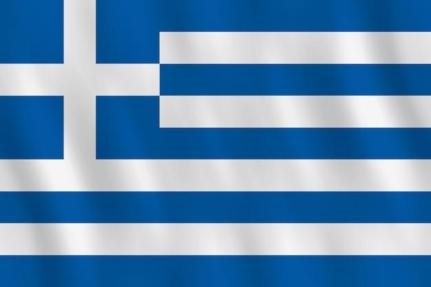 Bandeira da grécia com efeito de ondulação, proporção oficial.