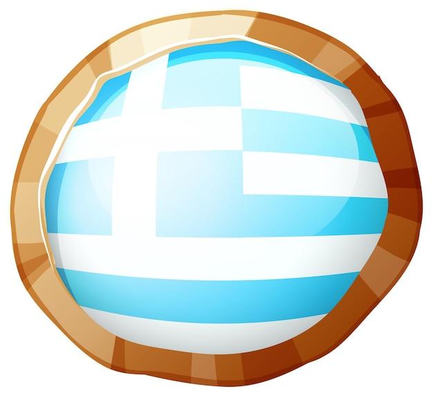 Bandeira da grécia em crachá redondo