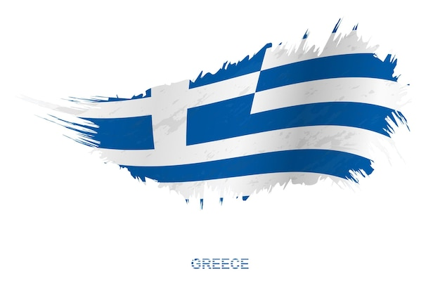 Bandeira da grécia em estilo grunge com efeito de ondulação, bandeira de pincelada de vetor grunge.