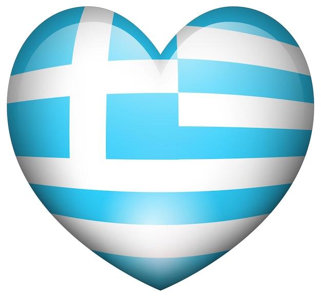 Bandeira da grécia em formato de coração