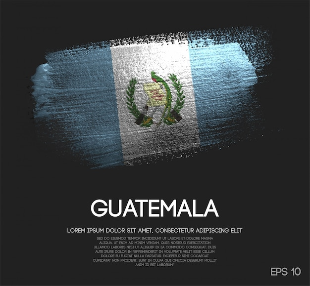 Bandeira da guatemala feita de glitter sparkle brush paint