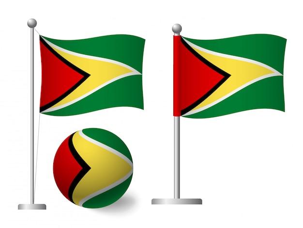 Bandeira da guiana no ícone pólo e bola