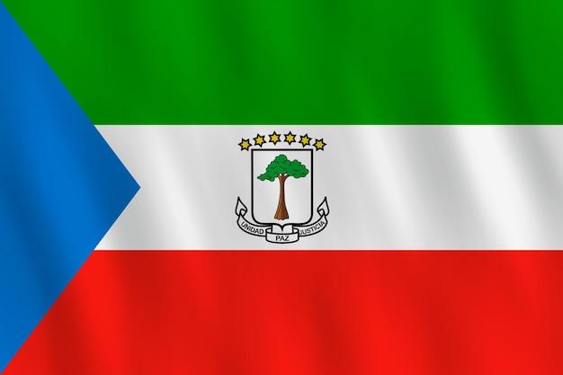 Bandeira da guiné equatorial com efeito ondulação, proporção oficial.