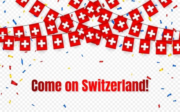 Bandeira da guirlanda da suíça com confete em fundo transparente, hang bunting para banner de modelo de celebração,