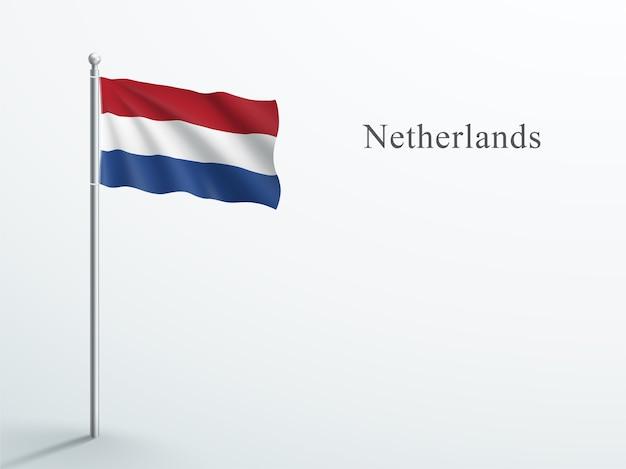 Bandeira da holanda elemento 3d acenando no mastro de aço