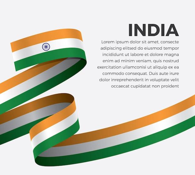 Bandeira da índia com fita, ilustração vetorial em um fundo branco.