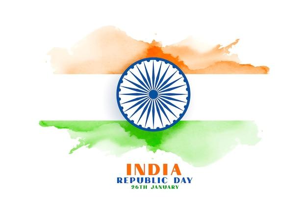 Bandeira da índia em aquarela feliz dia da república