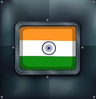 Bandeira da índia em fundo metálico
