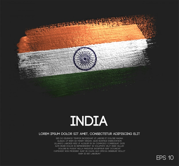 Bandeira da índia, feita de glitter sparkle brush paint