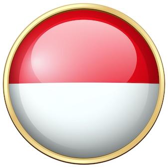 Bandeira da indonésia em crachá redondo