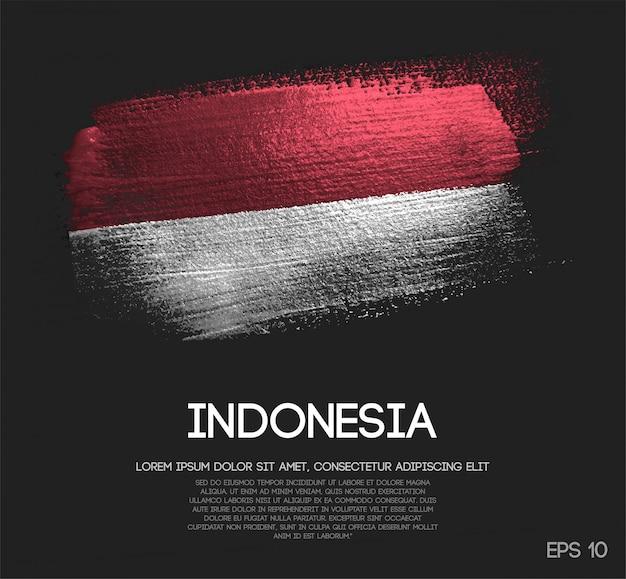 Bandeira da indonésia feita de glitter sparkle brush paint