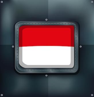 Bandeira da indonésia na parede de metal