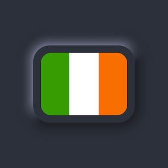 Bandeira da irlanda. bandeira nacional da irlanda. símbolo irlandês. vetor. ícones simples com bandeiras. interface de usuário escura ux neumorphic ui. neumorfismo