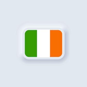 Bandeira da irlanda. bandeira nacional da irlanda. símbolo irlandês. vetor. ui ux neumórfico