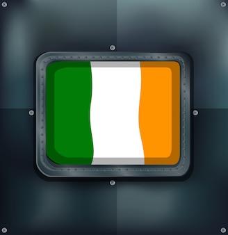 Bandeira da irlanda no emblema quadrado
