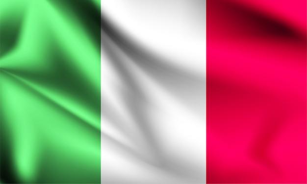 Bandeira da itália acenando com o vento, ilustração 3d