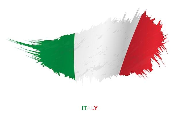 Bandeira da itália em estilo grunge com efeito de ondulação, bandeira de pincelada de vetor grunge.