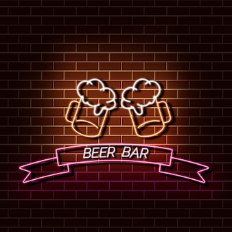 Bandeira da luz de néon da barra da cerveja na parede de tijolo. sinal de laranja e rosa.