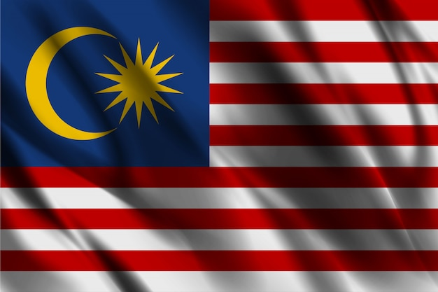 Bandeira da malásia acenando modelo de fundo de seda