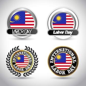Bandeira da malásia com vetor de design dia do trabalho